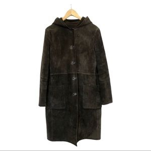 Kenneth Cole Reaction Long Brown Leather Coat